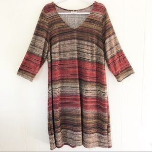 Avenue Striped Knit Dress 3/4 Sleeves Plus Size